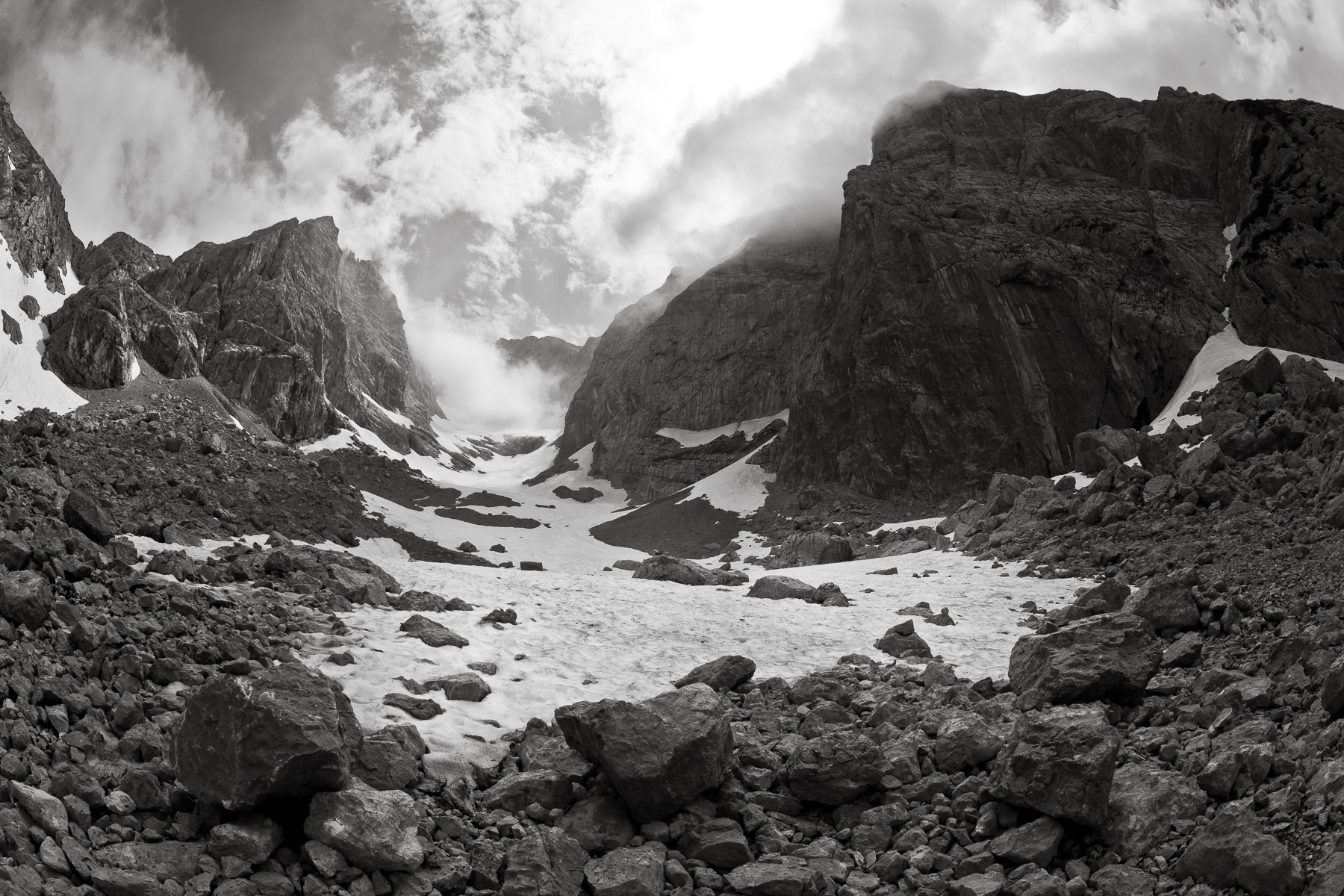 The receeding end of the Blue glacier in the Bavarian, Alps.