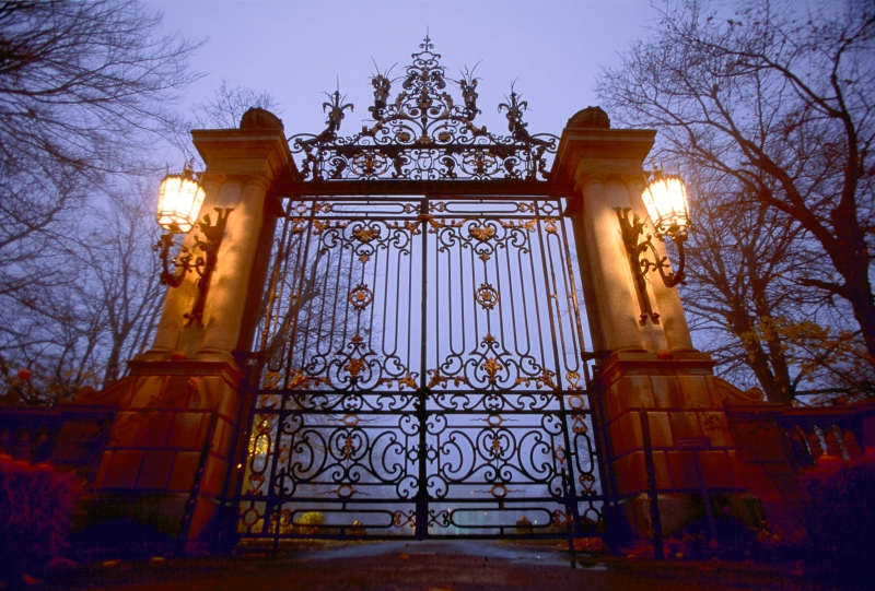 The ornate gates of Belcourt Castle, one of the mansions on Famed Bellevue Ave in Newport RI