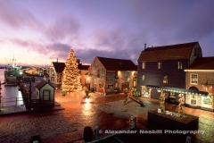 An old time slide film shot of Bowen's wharf and Christmas tree from 1998