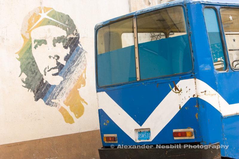 Mural of Che Guevara with bus graphics, Havana