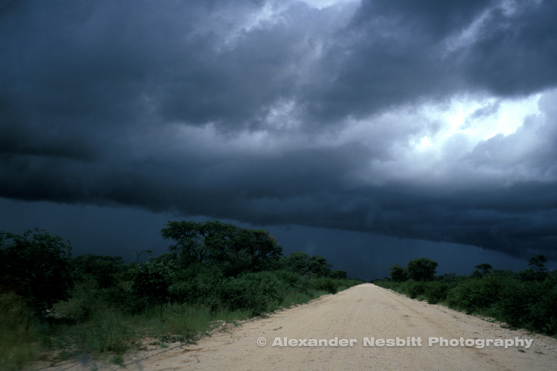 Dirt road leads east under rain clounds through eastern Bushmanland and the Kalahari to the regional center of Tsumkwe. Namibia