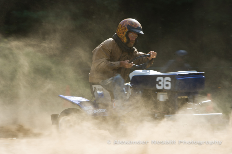 New England lawn tractor racing event.
