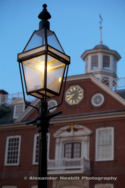 USA Newport, RI - A gas lamp in the foreground of the Newport Colony house on Washington square.