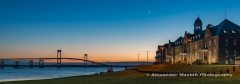 Newport Bridge and Naval War College at Naval Station Newport - panorama