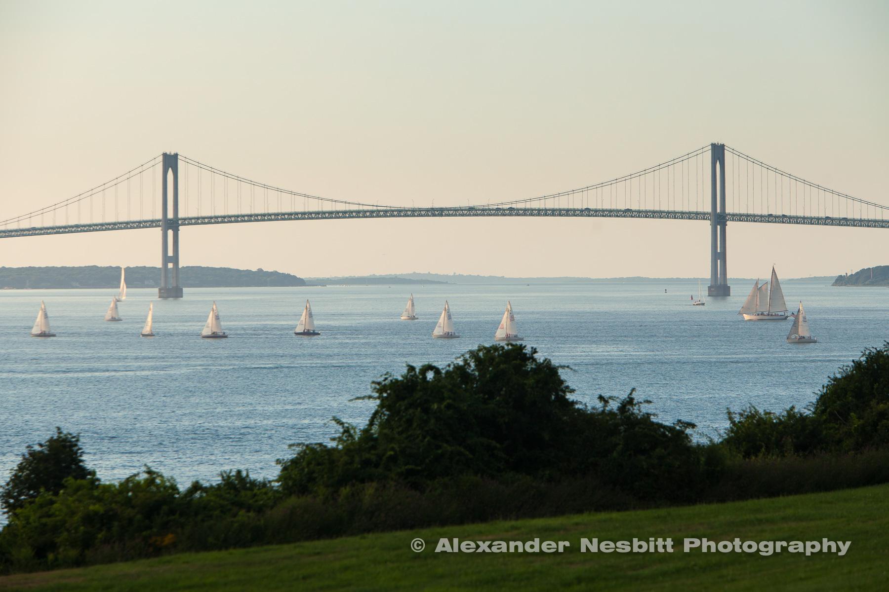 J24s race by the Newport Bridge