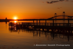 Elm Street Pier, a quiet sunset in the off season. Newport Ri