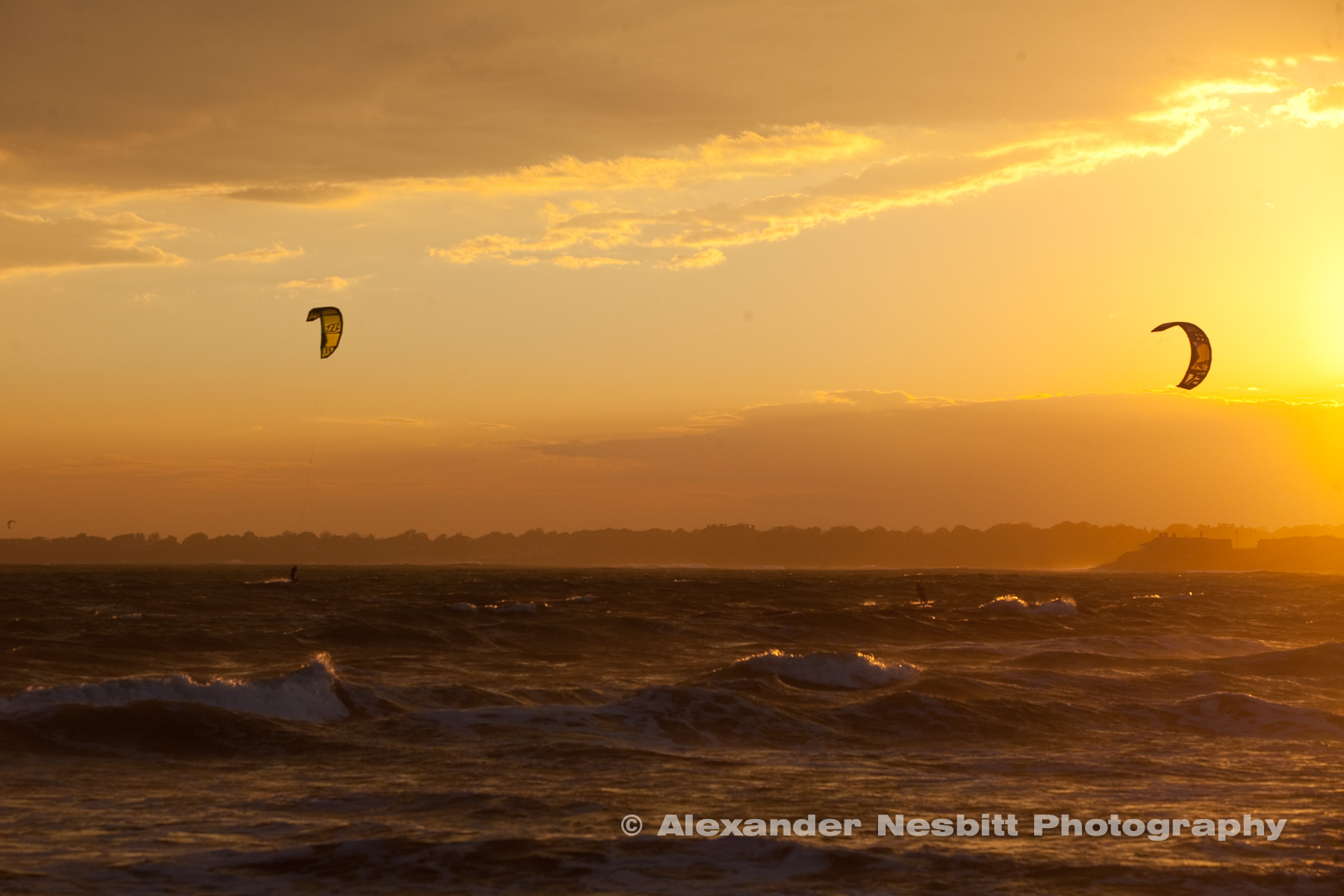 Kiteboarding the sunset, Sachuest Beach