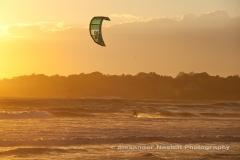 Kiteboarding the sunset, Sachuest Beach