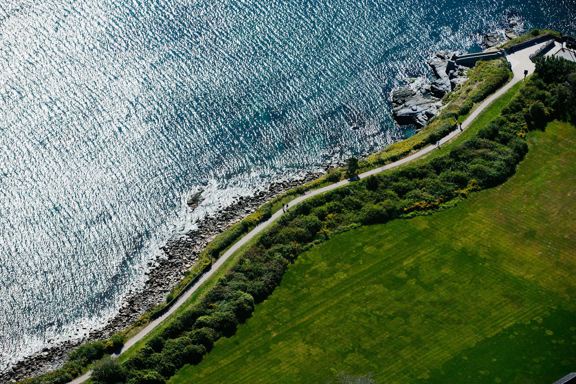 Newport, RI, USA - Aerial view of Cliffwalk at Forty steps