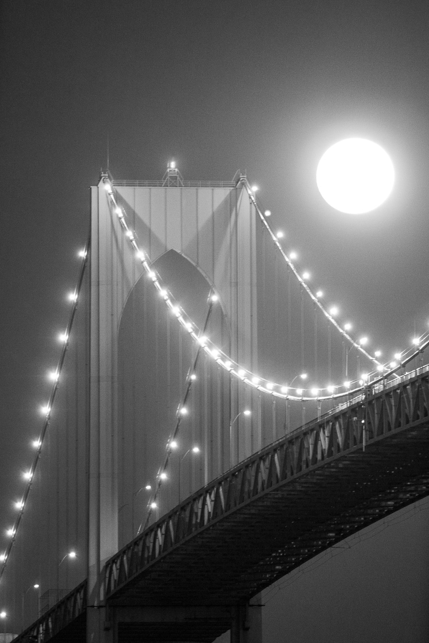 Full moon over Newport Bridge