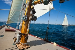 Classic twelve meter Gleam sailing on Narraganset Bay in Newport