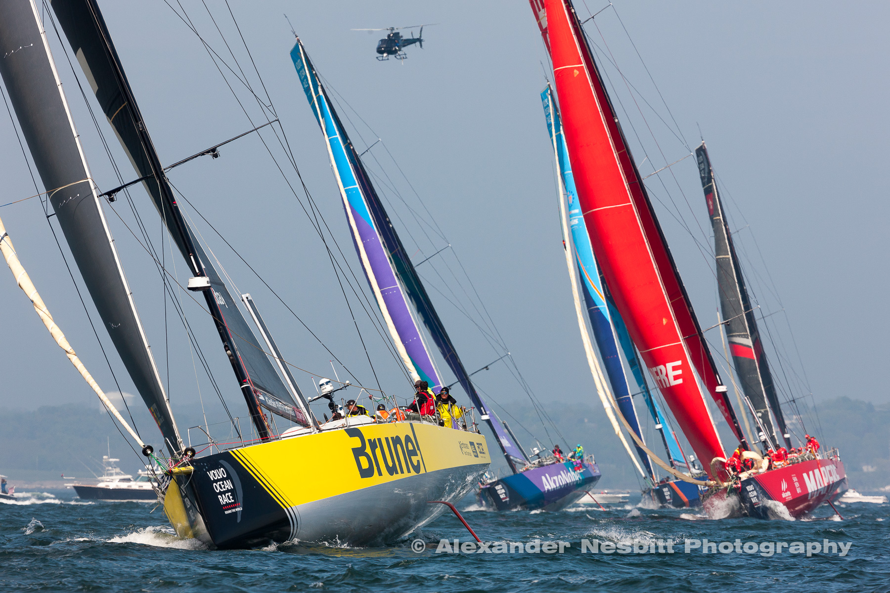 Brunel leads the fleet around the Leward mark in the leg start to Cardiff  of the 2018 Newport Volvo Race stop over.