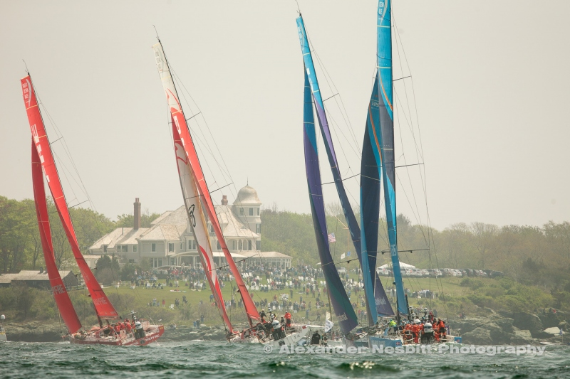 Volvo Ocean Race Boats round the weather mark at Castle Hill on the leg start from Newport, RI