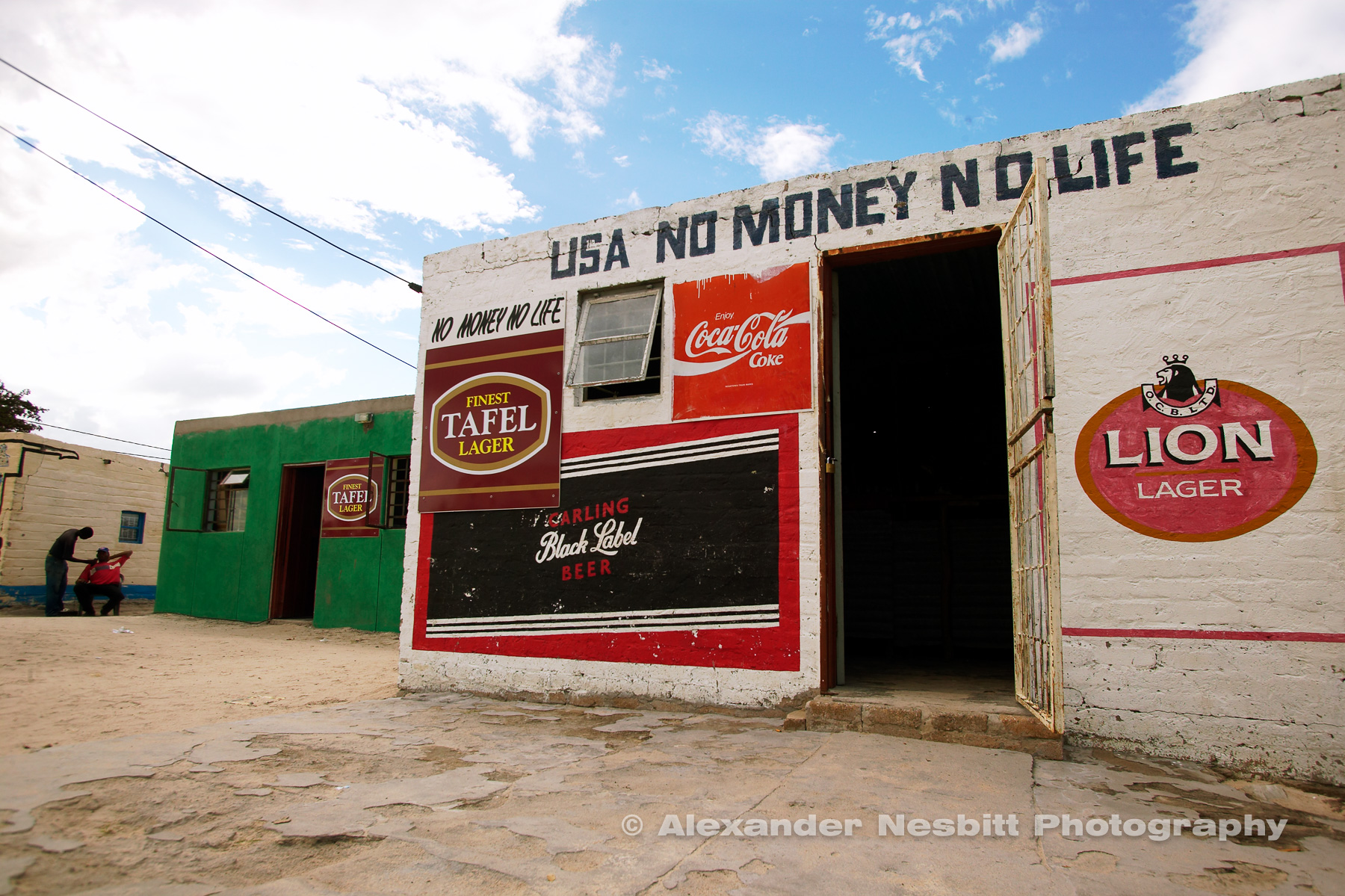 Africa, Namibia 2004 - USA No Money, No Life. Bar in Namibia.