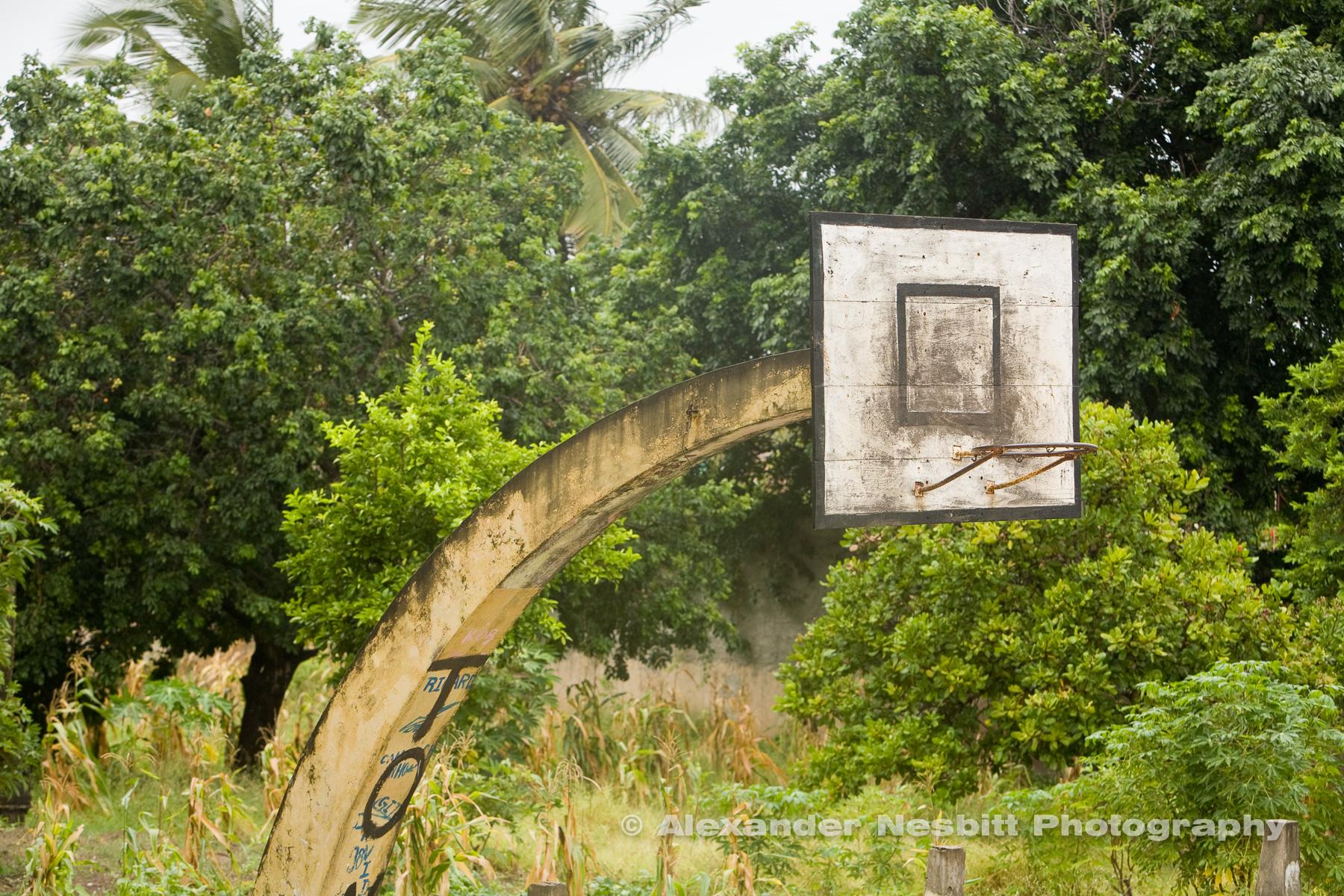 Inhambane,Mozambique, near Tofo Beach a simple basketball hoop - it's a global sport