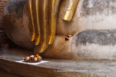 What si chum, Sukhothai Thailand - devotees I have placed a morning offering of a bowl of fruit by a gilded hand of a colossal Buddha statue