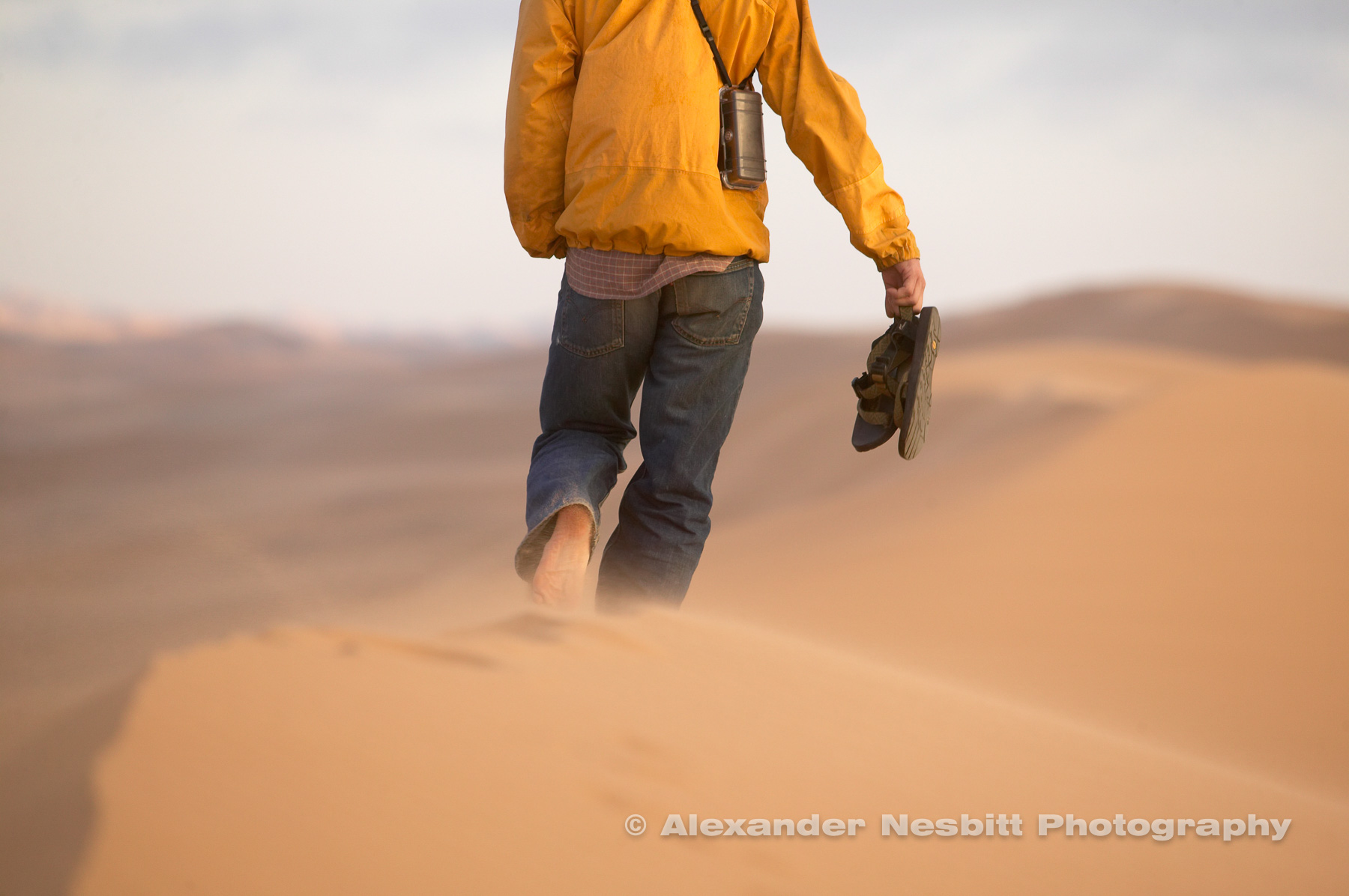 Namibia, Swakopmund - Traveler explores the dunes between Swakopmund and Walvis Bay