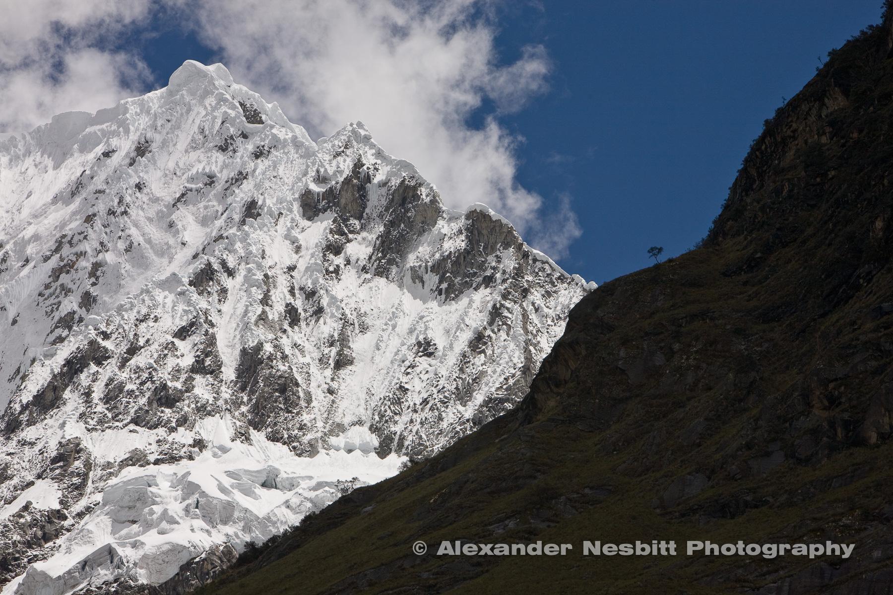The famous Santa Cruz Trek crosses the Andes between some of it's grandest peaks, near Harez, Peru.