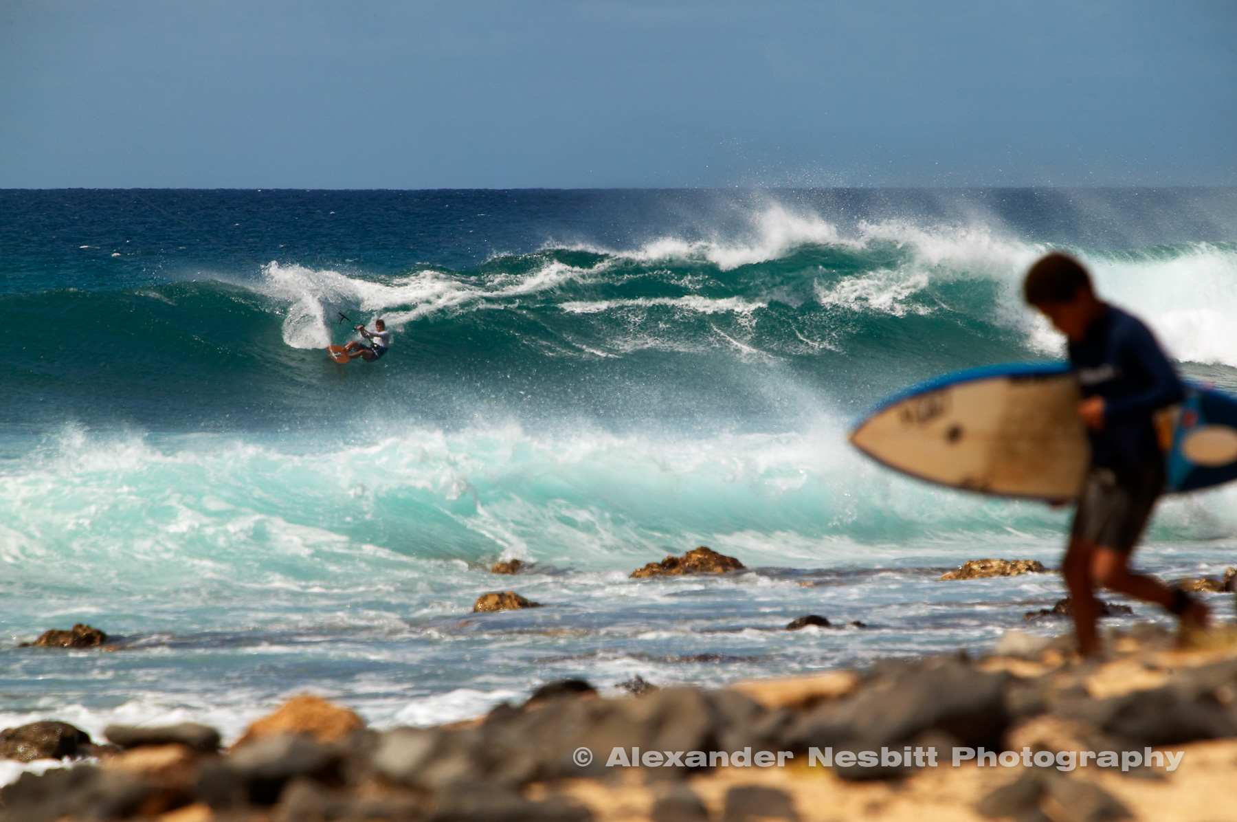 Kiteboarding, windsurfing, and surfing in Cabo Verde of Ponta Preta (Black Point) on the island of Sal. Cape Verde