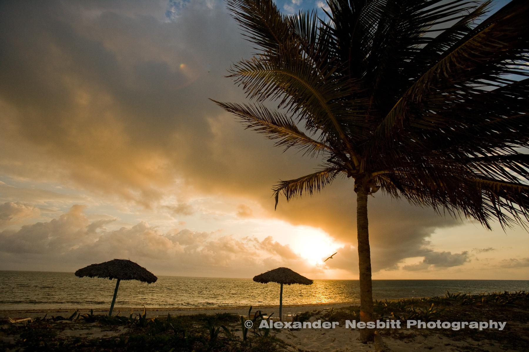 Sunrise on the beach, Cuba.  Playa Santa Lucia